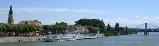 Uniworld's River Royale riverboat on the Rhone in Avignon France